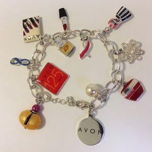 Avon 12 Charms Bracelet Silver Metal Link Chain